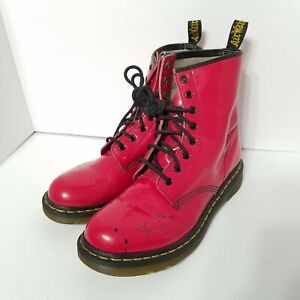 Dr. Martens 1460 W Cherry Red Shiny Patent Leather Combat Boots Women's Size 10