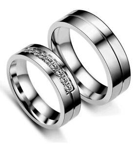 925 Siver Men Women Luxury Couple Rings CZ Titanium Steel Wedding Band Size 5-14