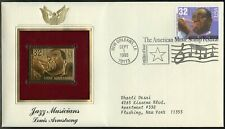 UNITED STATES 1995 LOUIS ARMSTRONG GOLD FOIL REPLICA ON  FIRST DAY COVER