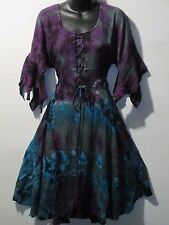 Dress Fits L XL Purple Blue Tie Dye Corset Lace Up Chest Flared Hem NWT 7223-C3