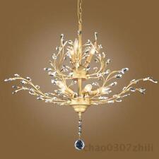 Vintage Bronze Metal Pendant Light Luxury Crystal Ceiling Lamp Lobby Chandeliers