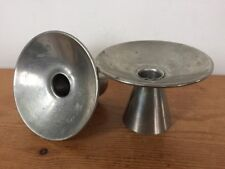 Pair Vtg Mid Century Modern CK Kurz Co Tiel Holland Pewter Candle Stick Holders
