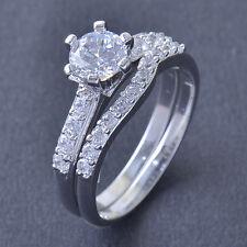 Gorgeous 9K White Gold Filled CZ 2-Ring Wedding Engagement Set,size 6,Z5001