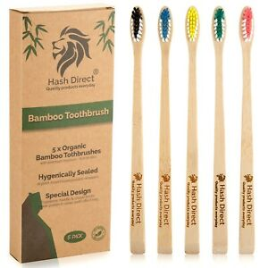 Bamboo Toothbrush Biodegradable Natural Wooden 5 Pack  Eco Medium Waved Bristles
