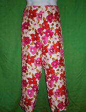 Muse pants size 14 multi color 100% silk flat front lining sequins ankle length