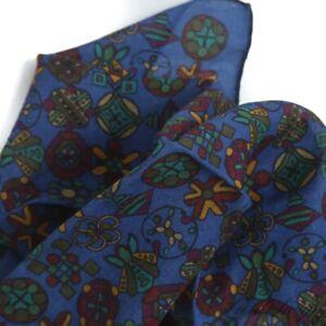 #1 MENSWEAR Drakes Made Italy Silk Wool Royal Madder Blue Mughal Pocket Square
