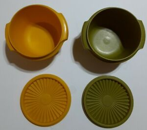 2 Vintage 70s Tupperware Servalier Bowls #886 with Lids Yellow Harvest Green