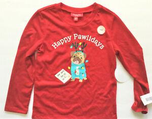 "Family PJs Kids Christmas ""Happy Pawlidays"" Holiday Sleep Shirt, Red, 6-7"