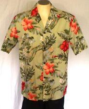 Pacific Legend Green Medium Aloha Hawaiian Shirt Hibiscus Leaves Cotton