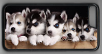 CUTE HUSKY PUPS Phone Case Cover Hard Back iPhone 4 5 6 7 8 Plus X (M)