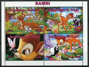 Chad Walt Disney Stamps 2014 MNH Bambi Thumper Cartoons Animation 4v M/S