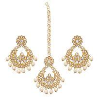 Indian Jhumka Earrings Bollywood Bridal Maang Tikka Trending Fashion Jewelry Set