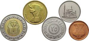 EGYPT 5 COINS SET 5 - 10 - 25 - 50 PIASTRES + 1 POUND BIMETAL BI-METALLIC UNC