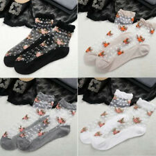 Women Lady Ultrathin Transparent Floral Crystal Silk Lace Elastic Short Socks
