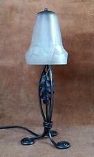 DEGUÉ : Lampe art déco fer forgé tulipe pâte de verre pressé 1930  moderniste