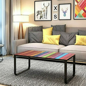 Coffee Side Table Tempered Glass Top Metal Frame Living Room Furniture