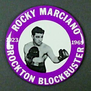 "Rocky Marciano Boxing HOF Brockton Blockbuster 1923-1969 Large 3 3/8"" Pin Button"