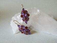 Wunderschöne Ohrhänger SILBER mit Swarovski-Steinen dunkelrot/lila
