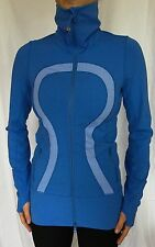 LULULEMON Size 4 In Stride Zip Up Track Jacket Forme Define Blue White Run VGUC