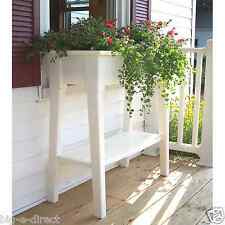 """White Outdoor Patio 36"""" Deluxe Large Garden Planter Flower Box Stand with Shelf"""