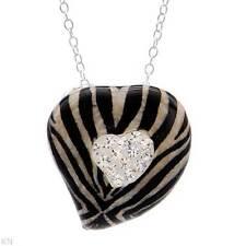 Heart  Necklace W/Genuine Crystal in Multicolor Enamel & 925 Sterling Silver