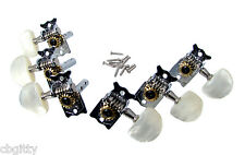 Parlor-style Chrome Open-gear Guitar Tuners - Dual-hole Shafts - 6pc. 3L/3R
