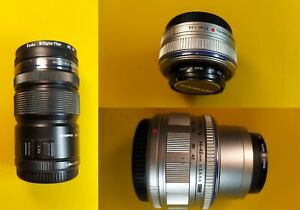 Olympus micro four thirds 3 lenses -17mm f2.8, 14-42mmf3.5-5.6, 12-50mm f3.5-6