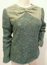 Vtg 60's Jerry Silverman Green Suede Leather Bow Knit Holiday Xmas Sweater 10