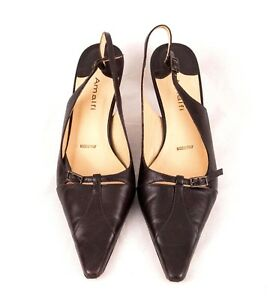 Amalfi Shoes 9 N Pointy Toe Leather Sling Back Heel Made in Italy EU 39.5
