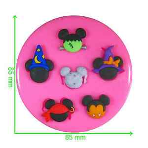 Disney Halloween Mickey & Minnie Heads Silicone Mould by Fairie Blessings
