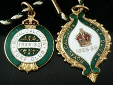 Royal Calcutta Turf Club His & Hers Enamel Racing Passes by Fattorini 1935-36