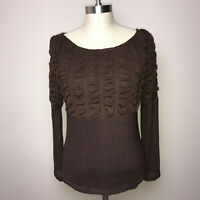 Young Essence Medium Shirt Brown Ribbed Texture Ruffled Knit Combination Sleeve