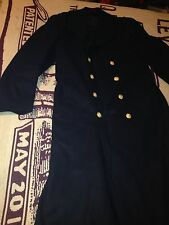 DOUBLE BREASTED BLACK DARK BLUE USMC HEAVY MARINE FULL LENGHT MILITARY COAT S