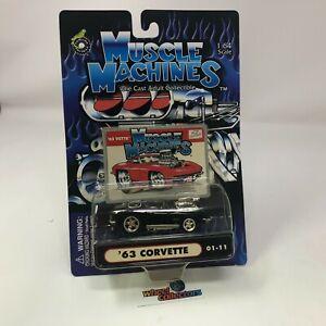 '63 Corvette * BLACK * Muscle Machines 1:64 Die Cast * HB24