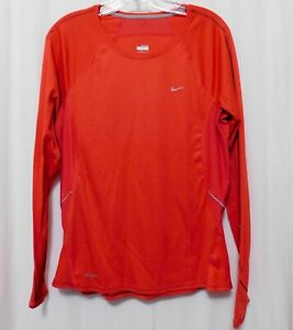 Nike Dri Fit Shirt Womens Large (12 /14) Athletic Top Reflective Red Orange