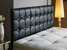 TOP QUALITY DIAMANTE FAUX LEATHER HEADBOARD IN 4FT SMLL DOUBLE, BLCK