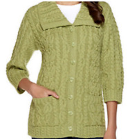 Aran Craft Merino Wool Irish Spring Women's  3/4 Sleeve Cardigan - Leaf Green XS