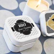 24 Personalized Square Tin Hats Off To You Candles Graduation Favors