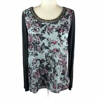 Maurices Women's Size Medium Floral Beaded Top