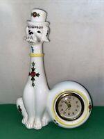 Vtg Mid-Century SAXONY Alarm Clock Ceramic Poodle REPAIR West Germany IT TICKS!!
