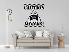 Caution Gamer Wall Art Decal Sticker Home Decor O112