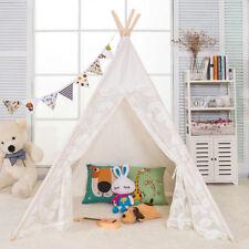 Hamevik 6' Giant Canvas Kids Indian Play Teepee Indoor Tent (Lace Door&Window)