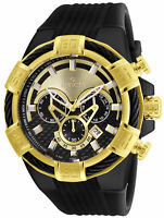 Invicta Bolt Chronograph Tachymeter Gold Dial Black Silicone Mens Watch 24699 SD
