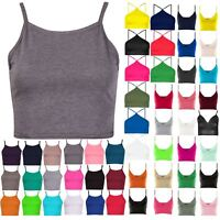 Womens Plain Camisole Stretch Ladies Sleeveless Strappy Vest Cami Bra Crop Top