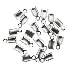 Small Cord End Tips Fold Over 5mm Silver Plated - Pack of 20 (H25/6)