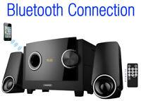 Boytone 2.1 CHANNEL BLUETOOTH HOME TETHER SPEAKER SHELF STEREO SYSTEM, USB, SD