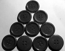 10 x Large BLACK 4-Hole Resin Buttons approx. 25mm Wide (SB1K)