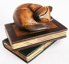 Sleeping Cat Curled Up on Top of Two Books, in Handcrafted Wood 6""