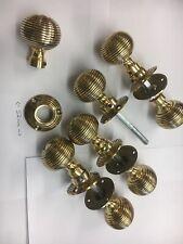 4 Pairs Brass Beehive Door handles Antique Style reeded Mortice Brass Door Knobs