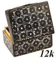 Antique 1700s Boite a' Mouche, Ornate Shell  & Pearl Pique Inlay & 12K Gold Box